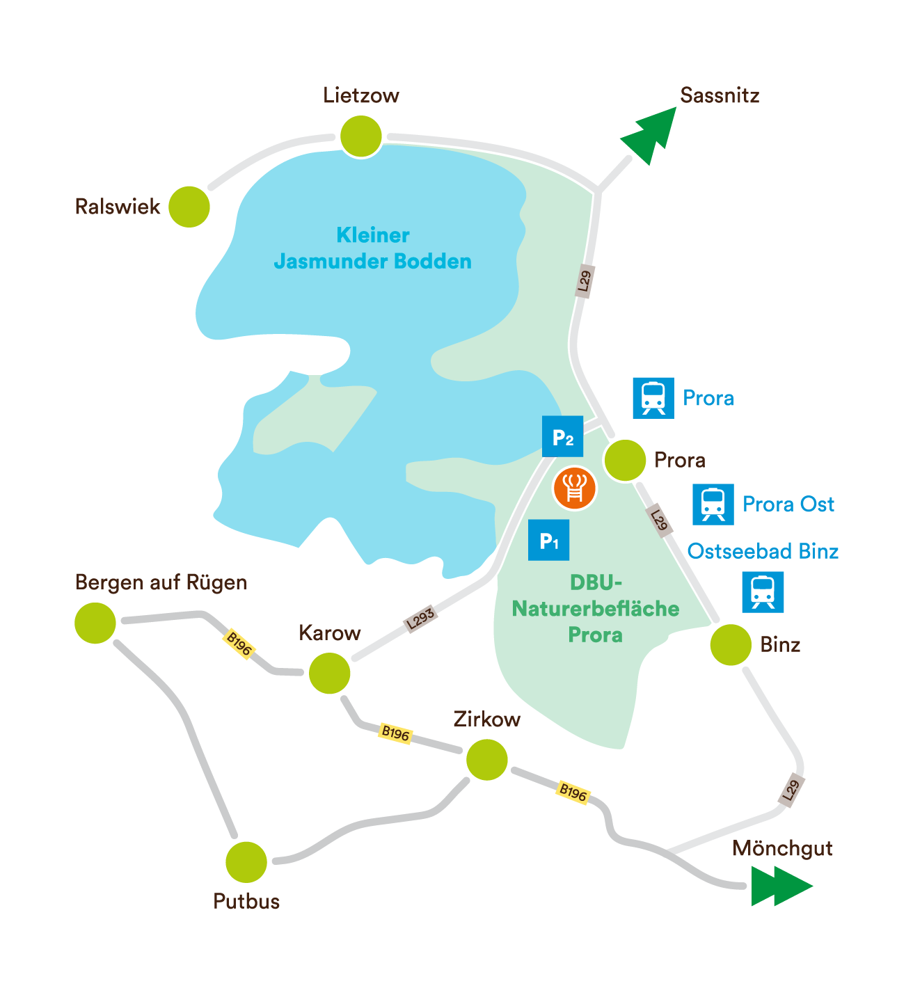 Directions to the Treetop Walk in the Naturerbe Zentrum Rügen